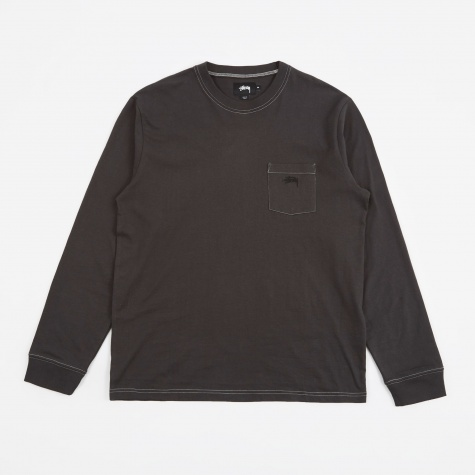 Overdyed LS Pocket T-Shirt - Black