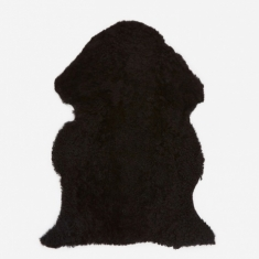 Natures Collection Short Curly Wool Sheepskin Rug - Black
