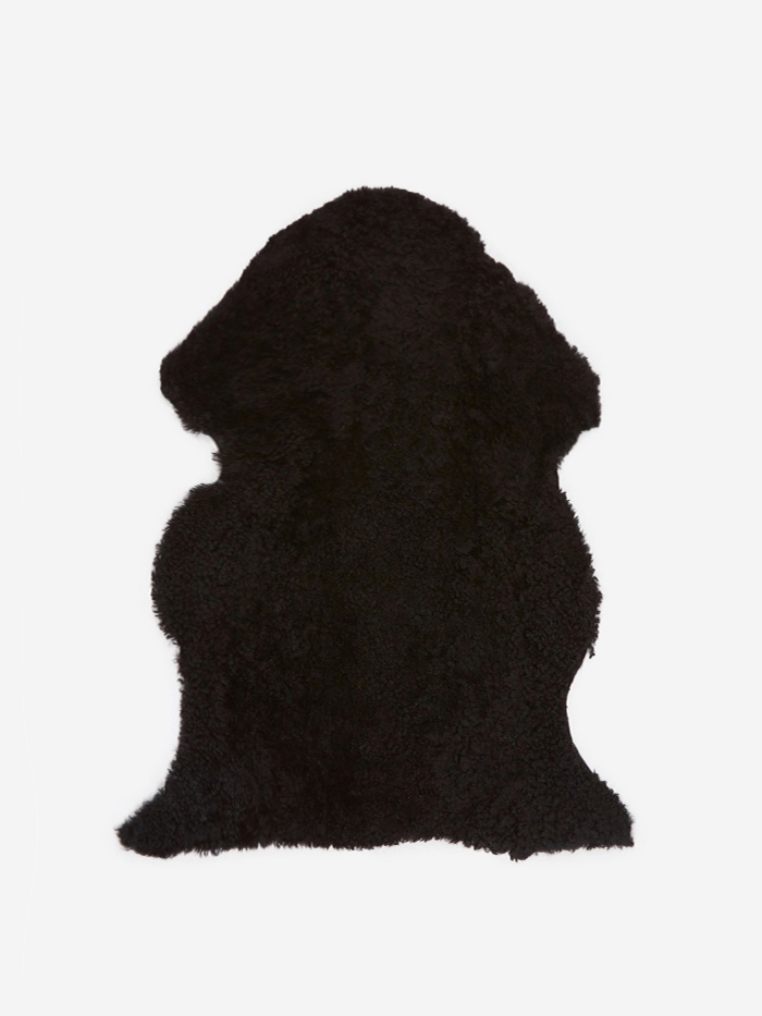 Natures Collection Short Curly Wool Sheepskin Rug - Black (Image 1)