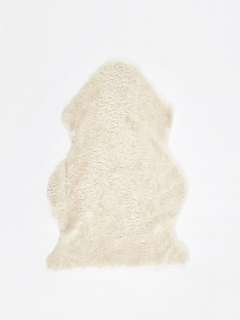 Short Curly Wool Sheepskin Rug - Ivory