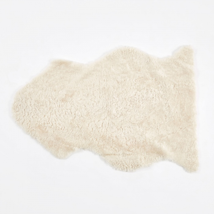 Natures Collection Short Curly Wool Sheepskin Rug - Ivory (Image 1)
