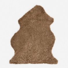 Natures Collection Short Curly Wool Sheepskin Rug - Taupe