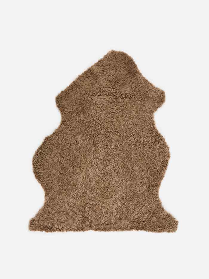 Natures Collection Short Curly Wool Sheepskin Rug - Taupe (Image 1)