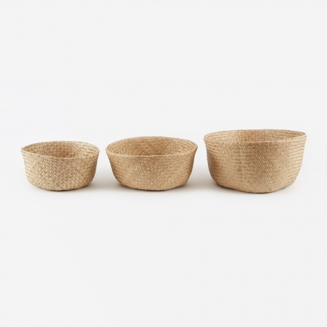 Basket 'Isle Fold' Sea Grass 3 Set - Natural