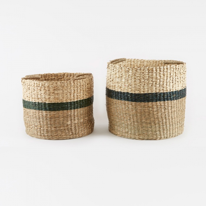 Broste Basket 'Marlene' Sea Grass 2 Set - Natural/Green/Palm Lea (Image 1)