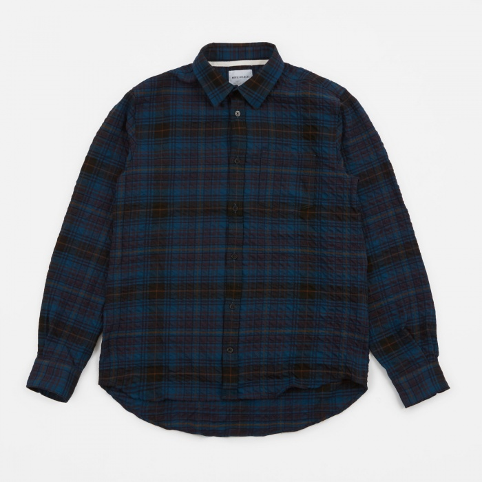 Norse Projects Osvald Texture Check Shirt - Navy Check (Image 1)