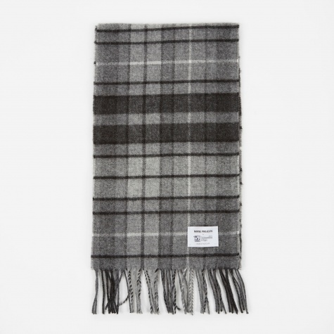 x Johnstons Check Scarf - Mouse Grey