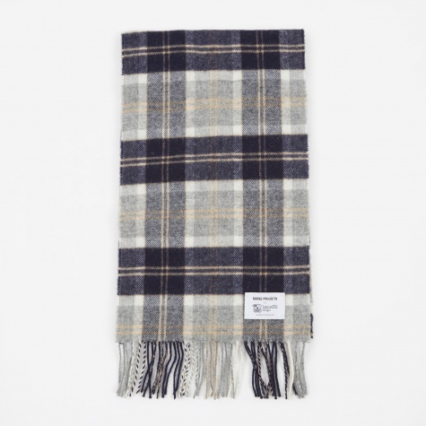 x Johnstons Check Scarf - Light Grey Melange
