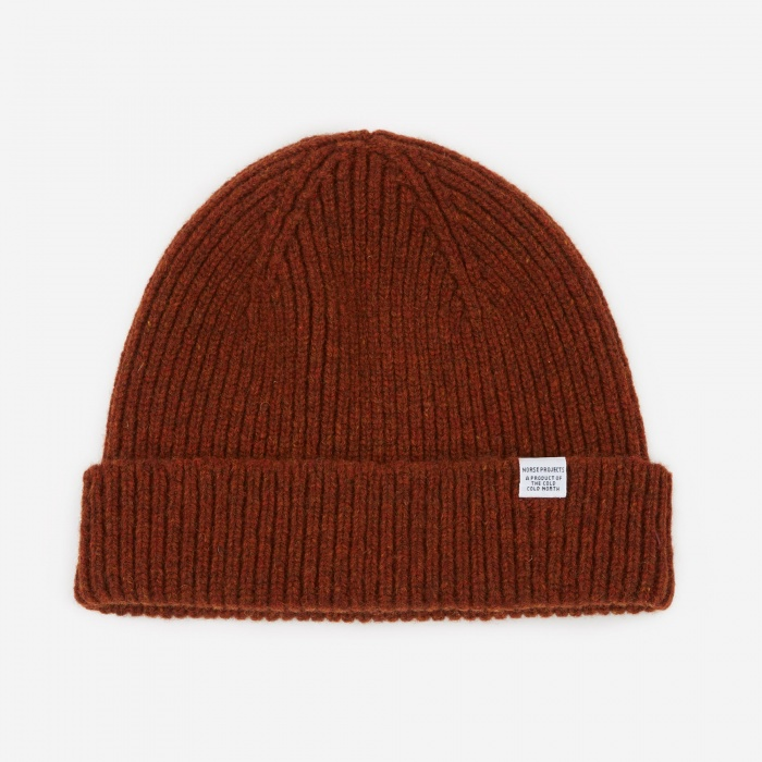 Norse Projects Norse Lambswool Beanie - Hematite Red (Image 1)