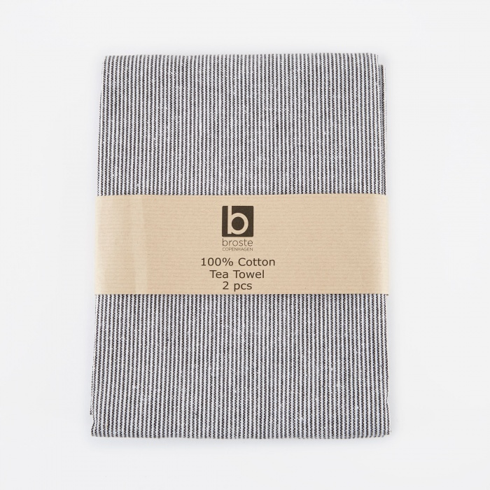 Broste Tea Towel 'Thin Stripe' Cotton - White/Black (Image 1)