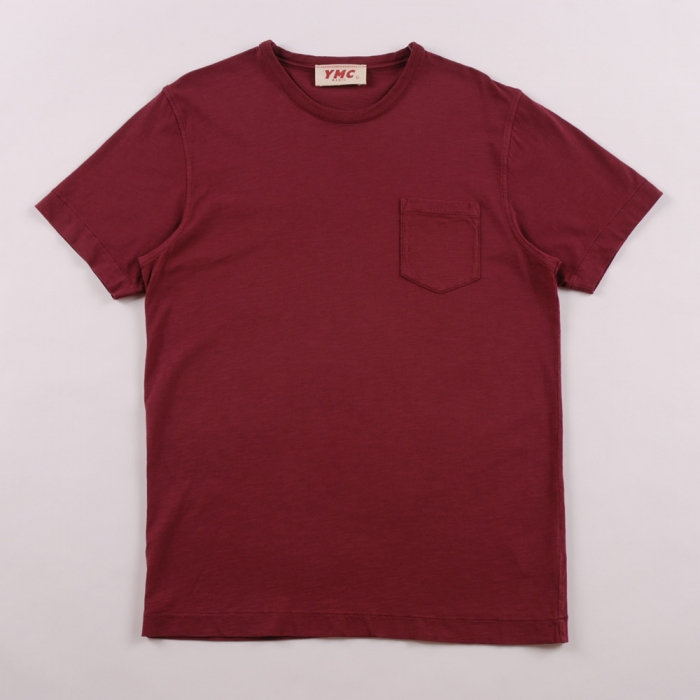 YMC S/S Pocket T Shirt - Burgandy (Image 1)