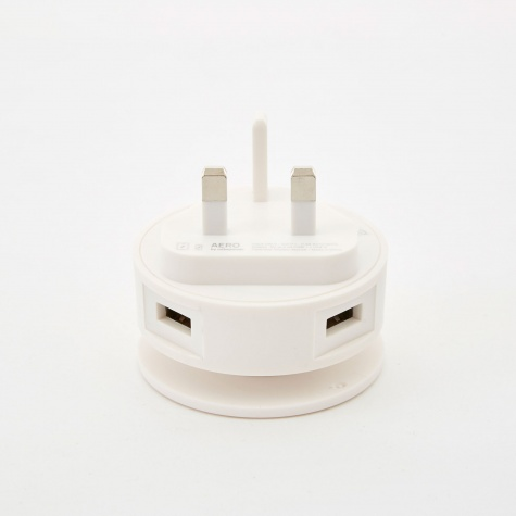 Aero Mini Dual USB Charger, Phone Stand & Cable Roller