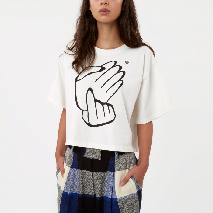 MM6 Maison Margiela MM6 Cropped Hand Print T-Shirt - Off White (Image 1)