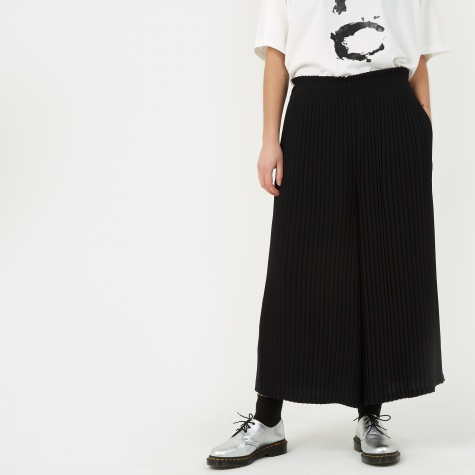 MM6 Pleated Wide Leg Pant - Black