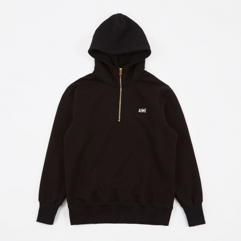 Quarter Zip Hooded Sweatshirt - Black