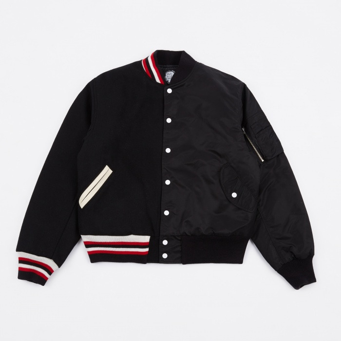 Brain Dead Split Varsity Jacket Reversible - Black (Image 1)