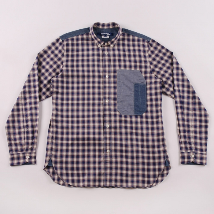 Junya Watanabe Man Check x Dungaree Shirt - Navy (Image 1)