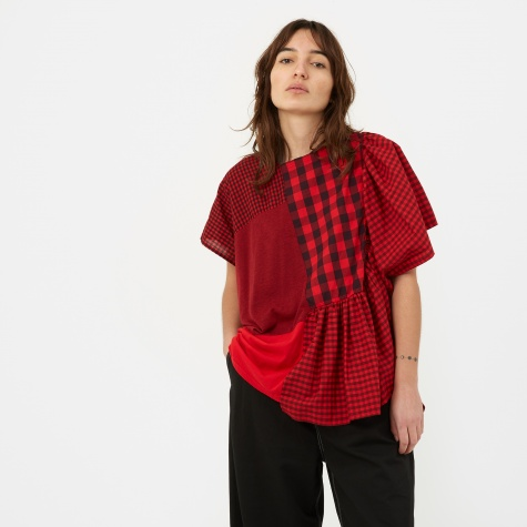 Patchwork Checkered Short Sleeve Top - Red