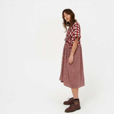Checkered Short Sleeve Dress - Red