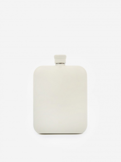 6oz Hip Flask With Canvas Carrier - Cream