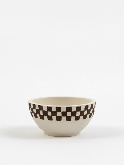 Medium Incense Bowl - Half Painted Porcelain Check