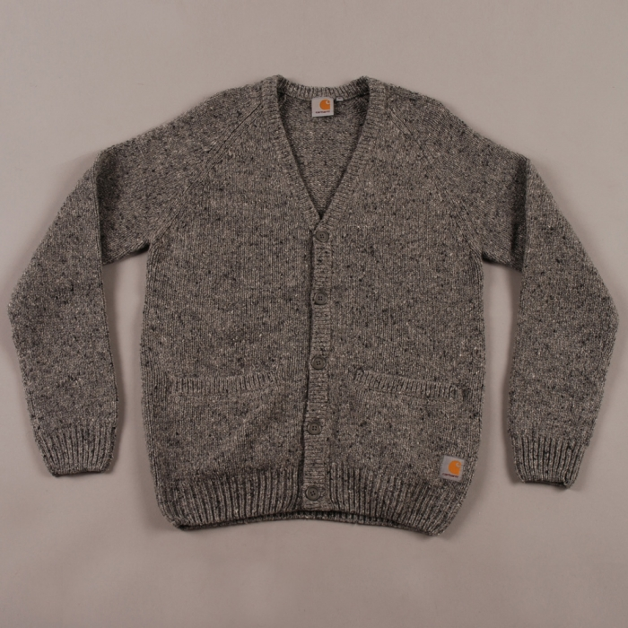 Carhartt WIP Carthartt Anglistic V-Neck Cardigan - Dark Grey Heather (Image 1)