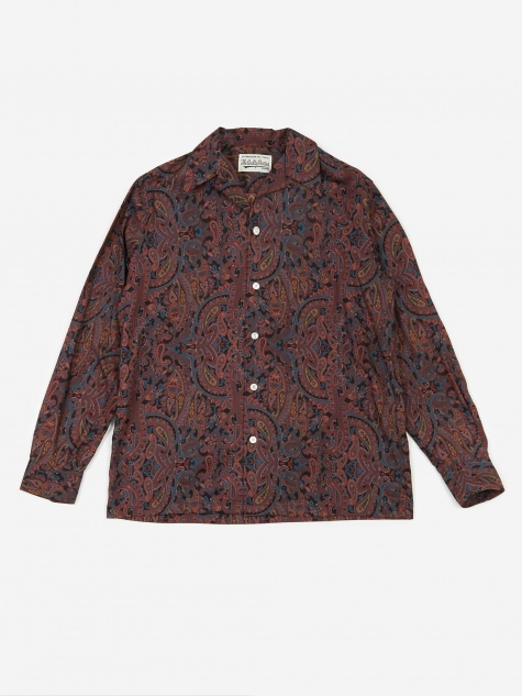 Paisley Open Collar Shirt - Black
