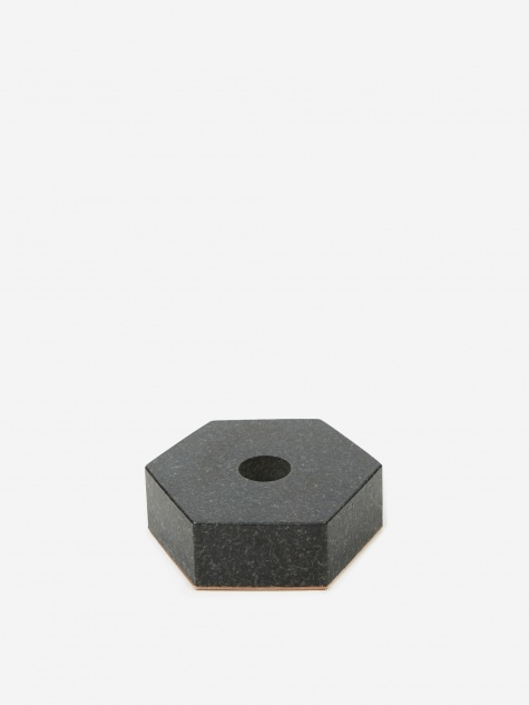 Black Stone Candle Holder - Hexagon