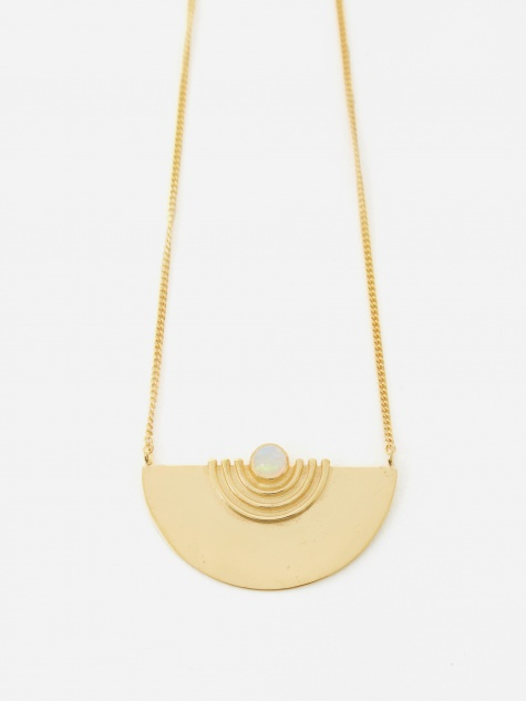 Orbit Pendant - 18ct Gold Plated Silver/Opal