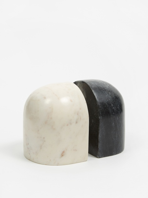 Luru Bookends Black & White Marble - Set Of 2