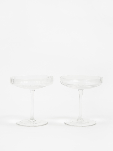 Ripple Champagne Saucer - Set Of 2 - Clear