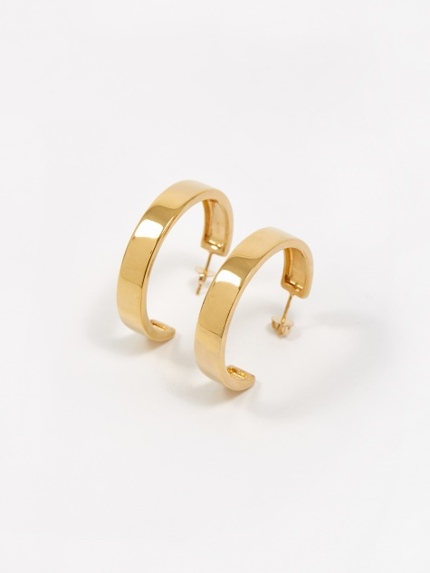 Large Modernist Hoop Earrings - Gold Vermeil