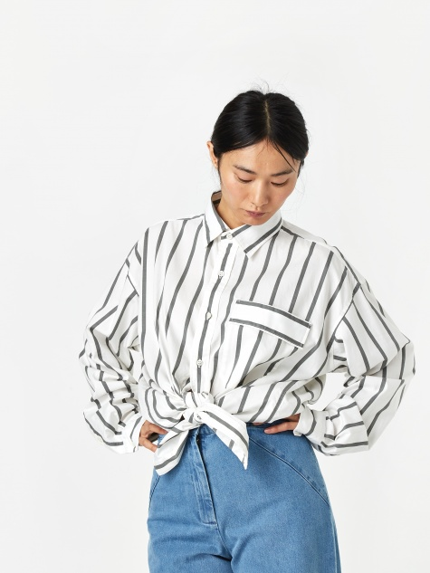 Striped Shirt - White/Grey