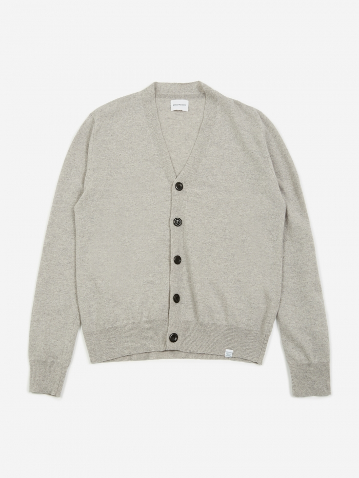 Norse Projects Adam Light Wool Cardigan - Light Grey Melange (Image 1)