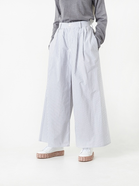 Pinstripe Trouser - White/Grey Stripe