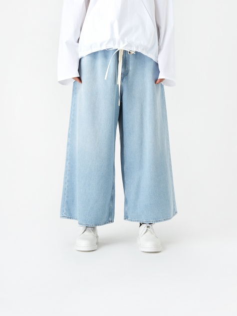 Wide Cropped Denim Trouser - Ble