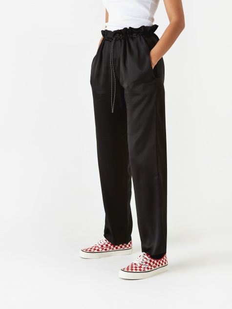 Silk Draw Cord Track Pant - Black