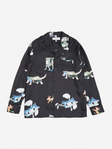 Richman All Over Print Silk Shirt Jacket - Black