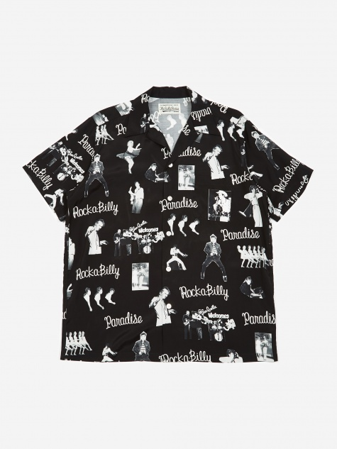 Rockabilly Short Sleeve Hawaiian Shirt - Black