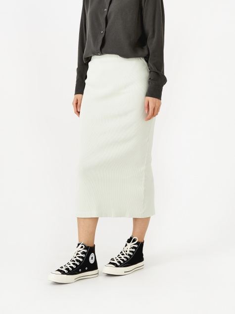Rib Tube Skirt - Translucent White