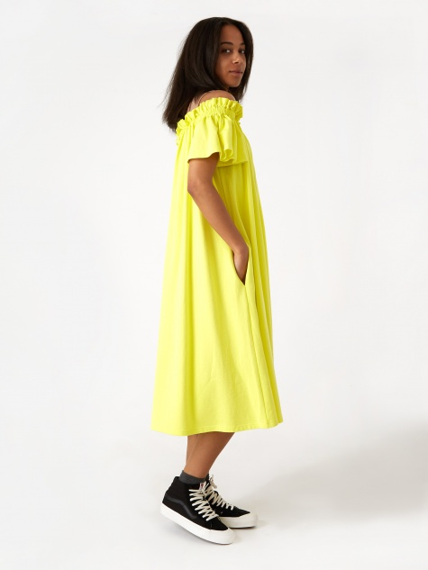 Angel Sleeve Dress - Lemon Tonic/Iced Coffee