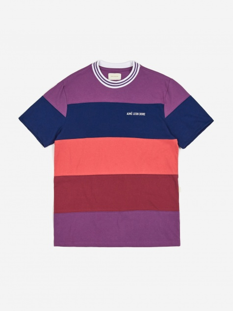 Striped Ribbed Collar T-Shirt - Purple Tape Combo