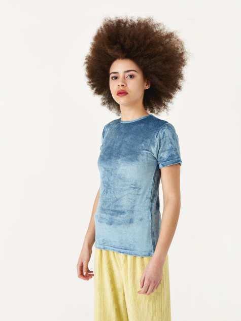 Omo T-Shirt - Temporary Blue Shiny Velours