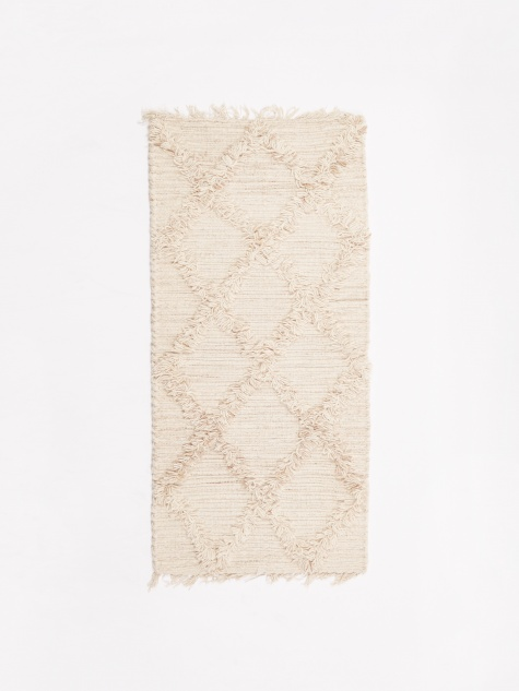 Wool Cross Mat 50x120cm - Natural