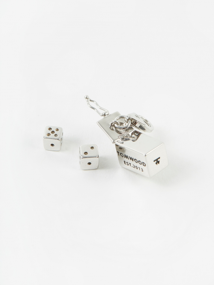 Tom Wood Two Dice Charm - Sterling Silver (Image 1)