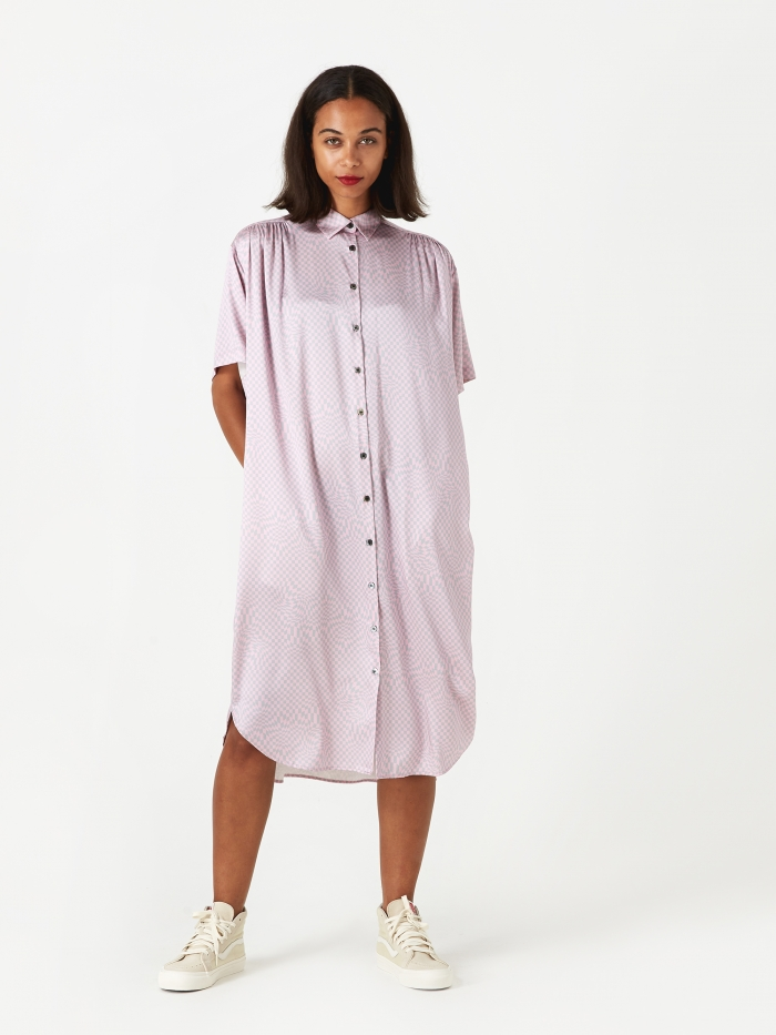 6397 Oversized Shirt Dress  - Pink/Grey (Image 1)