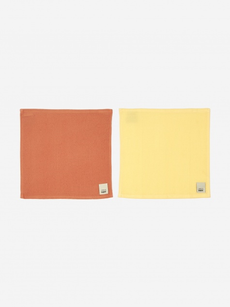 Waffle Dish Cloth Set Of 2 - Terracotta And Yellow