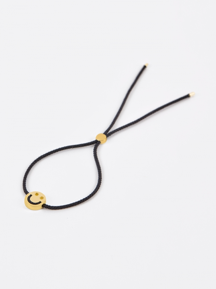 Ruifier Black Cord Happy Bracelet - 18K Yellow Gold Plated (Image 1)