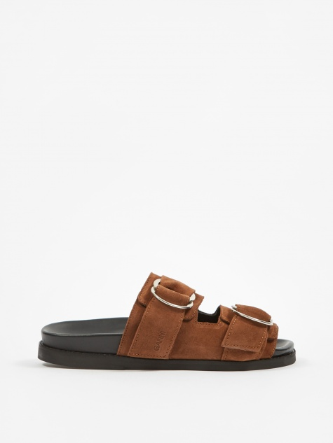 Leather Flat Sandal  - Tapioca
