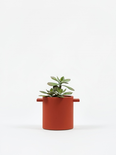 Round Concrete Pot Red/Brown - 15cm